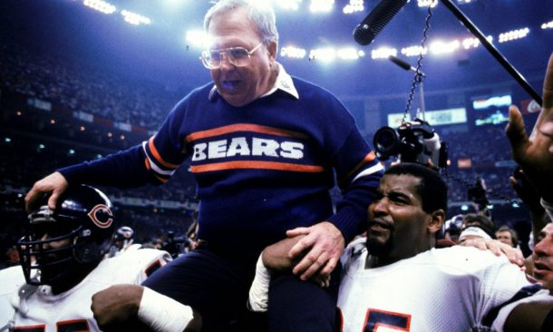 MVP Richard Dent #95 of the Chicago Bears lifts up Defence Coach B. Ryan after winning the Superbowl XX game against the the New England Patriots at the Louisiana Superdome in New Orleans, Louisiana. The Bears defeated the Patriots 46-10.