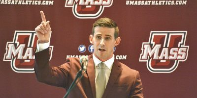 Walt Bell, who has been hired as the new UMass football head coach, speaks during a press conference, Wednesday, Dec. 5, 2018 at the Martin Jacobson Football Performance Center at UMass.