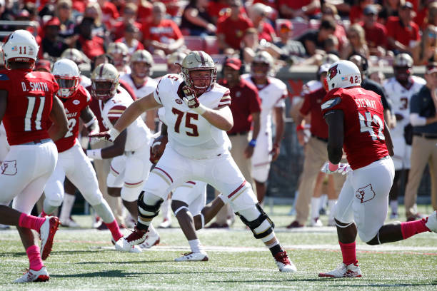 LOUISVILLE, KY - OCTOBER 14: Chris Lindstrom #75 of the Boston College Eagles in action during a game against the Louisville Cardinals at Papa John's Cardinal Stadium on October 14, 2017 in Louisville, Kentucky. Boston College won 45-42. (Photo by Joe Robbins/Getty Images)